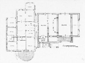 Giovanni Michelucci: Casa Valiani in Rom, 1929-31. Grundriss Erdgeschoss. Bildquelle: Ostilio Rossi 2000.