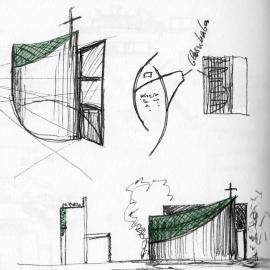 Luigi Monzo: Sekundenskizze für eine Autobahnkapelle, 2013.